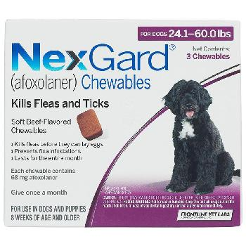 NexGard Chewable Tablets for Dogs, 24.1-60 lbs, 3 treatments, 68 mg Afoxolaner