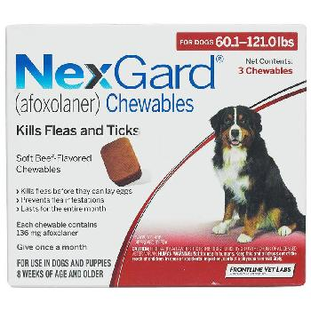 NexGard Chewable Tablets for Dogs, 60.1-121 lbs, 3 treatments, 136 mg Afoxolaner