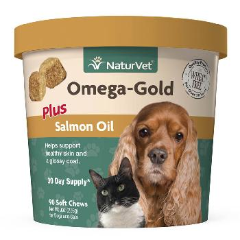 NaturVet Omega-Gold Plus Salmon Oil Soft Chews for Dogs and Cats 90 ct