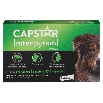Capstar Flea Tablets (nitenpyram) for Dogs, 25 or more lbs, 6 tablets, 57 mg