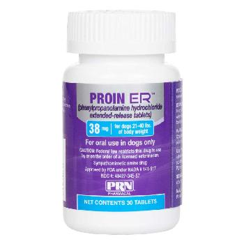 Proin ER (phenylpropanolamine hydrochloride extended-release tablets) for Dogs, 38 mg, 30 ct