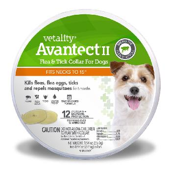 "Vetality Avantect II Flea & Tick Collar fits necks up to 15"" - 12 month protection 2 ct"