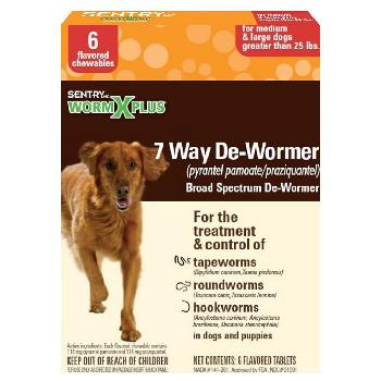 Sentry HC Worm X Plus 7 Way De-Wormer for Medium & Large Dogs 6 count