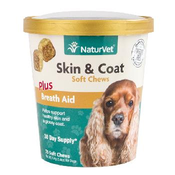 NaturVet Skin and Coat Soft Chews Plus Breath Aid for Dogs, 70 count