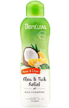 TropiClean Neem and Citrus Pet Shampoo for Dogs, Flea and Tick Relief, 20 ounces