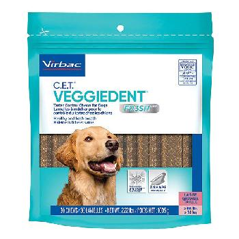 C.E.T. Veggiedent Fr3sh Tartar Control Chews for Large Dogs, over 66 pounds, 30 count