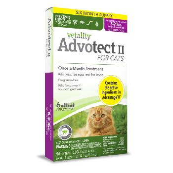 Vetality Advotect II for Cats, 5-9 lbs, 6 doses