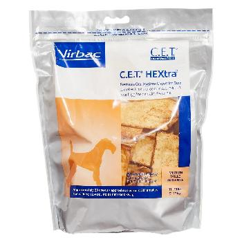 C.E.T. HEXtra Premium Oral Hygiene Chews for Medium Dogs, 11-25 pounds, 30 count