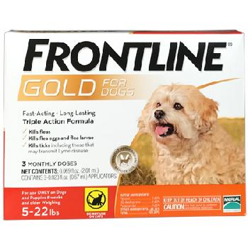 Frontline Gold For Dogs 05-22 lbs 3 dose