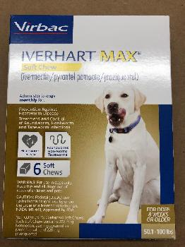 Rx Iverhart Max Brown Chew Tabs 51-100 lb  6 Dose