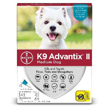Bayer K9 Advantix II for Medium Dogs 11-20 pounds, Flea, Tick and Mosquito, 4 doses