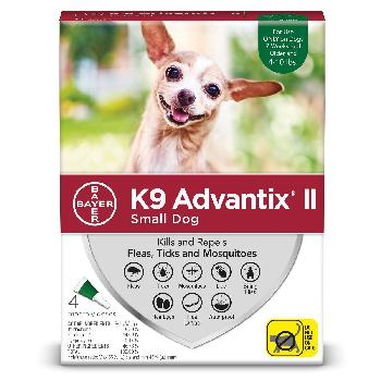Bayer K9 Advantix II for Small Dogs 4-10 pounds, Flea, Tick and Mosquito, 4 doses