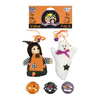 Halloween Cat Toys, Witch and Ghost, 5 pieces